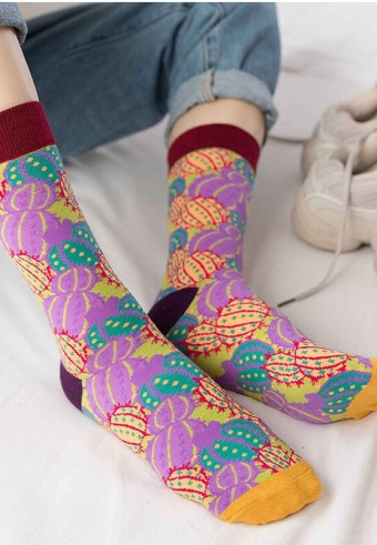CALF CACTUS SOCKS IN PURPLE