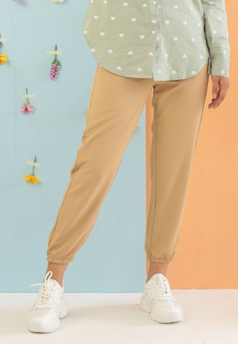 SILK JOGGER PANT IN LIGHT BROWN