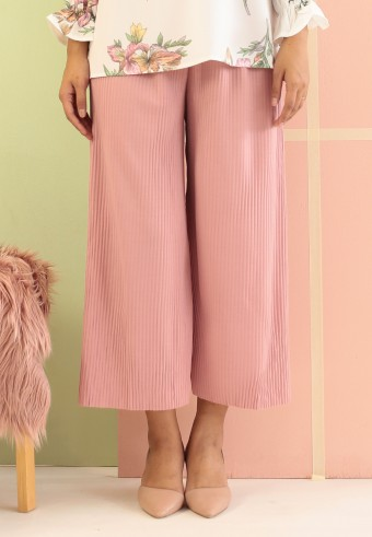 ROPE PLEATED PANT (ANKLE LENGTH) IN PINK