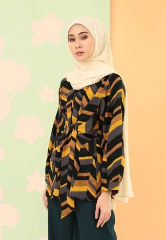 TIE FRONT PRINTED TOP IN BLACK & MUSTARD