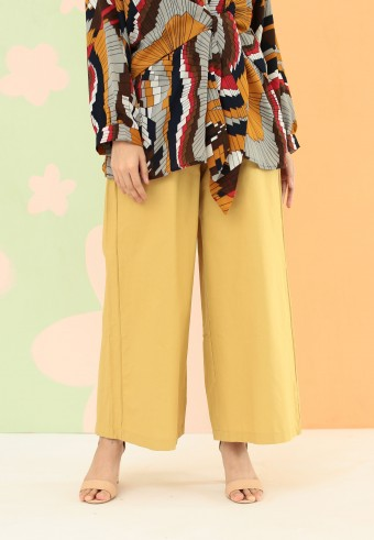COTTON WIDE PALAZZO PANT IN MUSTARD