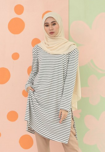 SMALL STRIPES LONG TOP IN GREY & WHITE