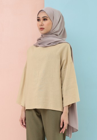FISHTAIL PLAIN LINEN TOP IN LIGHT BROWN