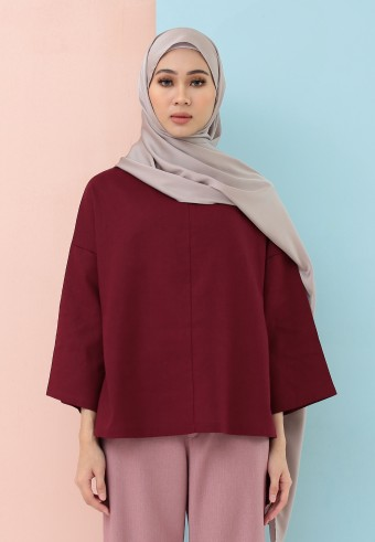 FISHTAIL PLAIN LINEN TOP IN MAROON
