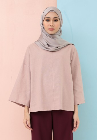FISHTAIL PLAIN LINEN TOP IN DUSTY PINK