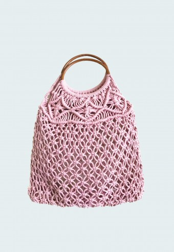 KNITTED HOBO BAG IN PINK 5