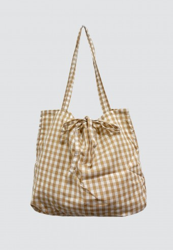 CHECKERED BAG IN BROWN