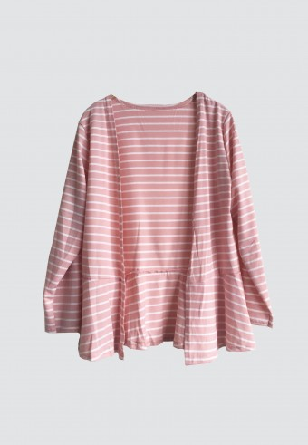 FLOWY STRIPED OUTERWEAR IN PINK