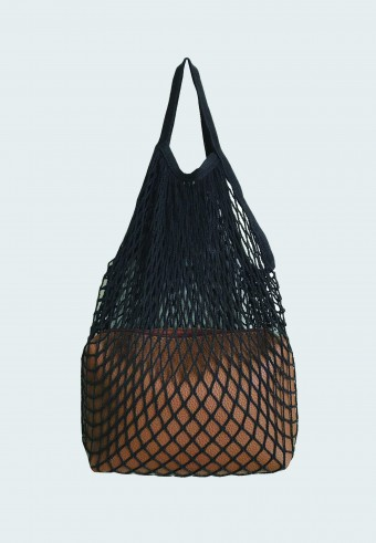 TRENDY NET BAG IN BLACK WITH ENVELOPE BAG 1