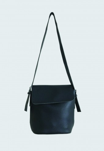 FOLDOVER LEATHER BAG IN BLACK