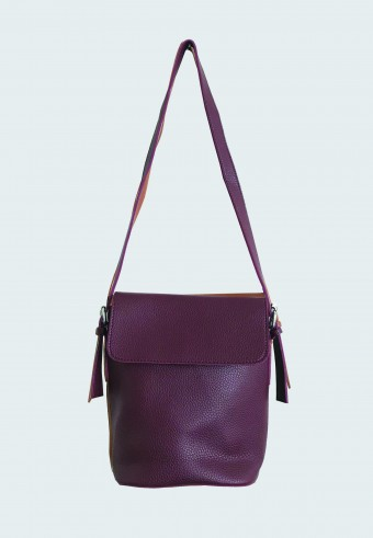 FOLDOVER LEATHER BAG IN DARK PLUMP