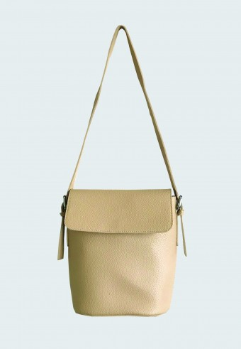 FOLDOVER LEATHER BAG IN LIGHT BROWN