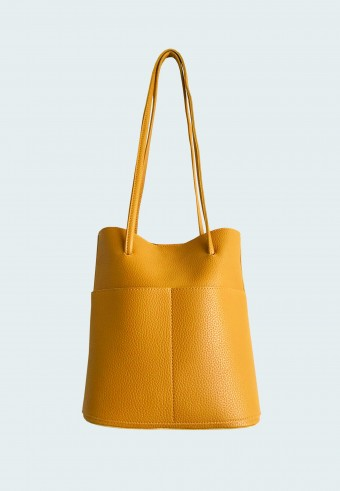 LEATHER STRING HANDBAG IN MUSTARD