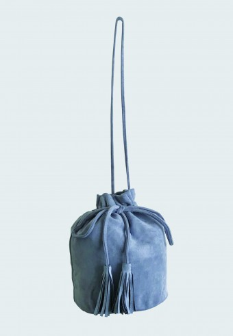 POUCH STRING BAG IN DUSTY BLUE