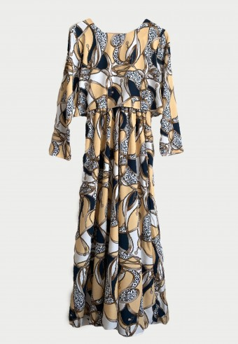 BELT CHAIN LONG DRESS IN CREAM & BLUE