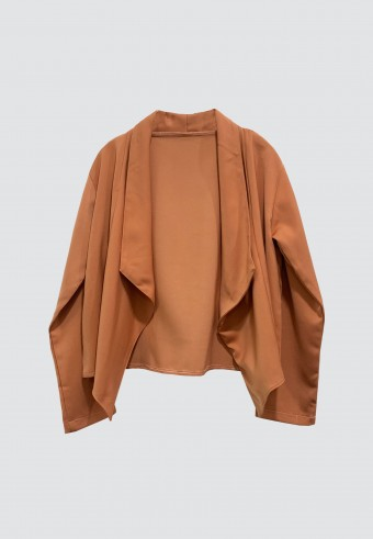 DRAPED OPEN FRONT BLAZER IN PEACH ORANGE