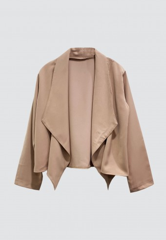 DRAPED OPEN FRONT BLAZER IN DUSTY PINK