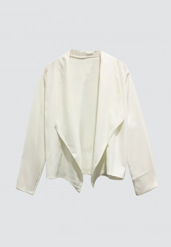 DRAPED OPEN FRONT BLAZER IN WHITE