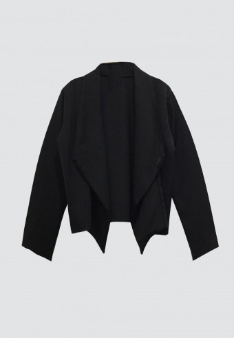 DRAPED OPEN FRONT BLAZER IN BLACK