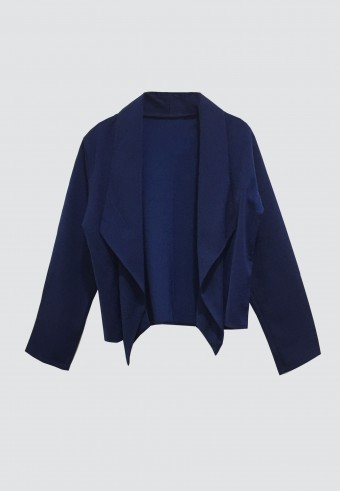 DRAPED OPEN FRONT BLAZER IN ROYAL BLUE