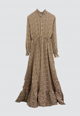 HIGH NECK LONG DRESS 911 IN BROWN