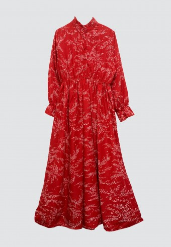 BASIL PRINTED LONG DRESS IN RED