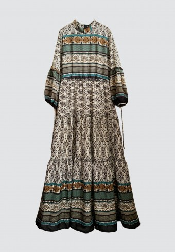 AZTEC TIERED LONG DRESS IN EMERALD BLUE