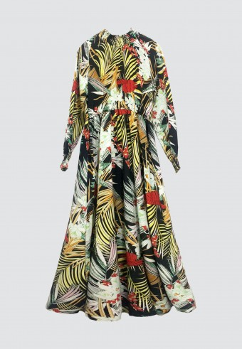 HI-NECK TROPICAL PRINTED LONG DRESS IN BLACK & RED