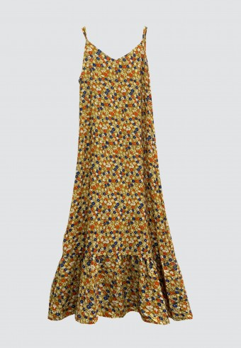 DAISY GATHERED SLEEVELESS LONG DRESS IN MUSTARD