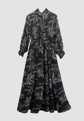 BASIL PRINTED LONG DRESS IN BLACK