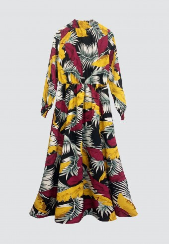 HI-NECK TROPICAL PRINTED LONG DRESS IN MUSTARD & MAROON