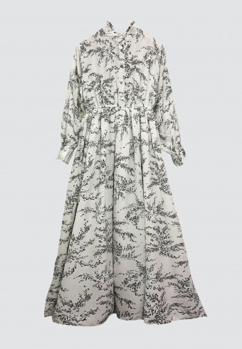 BASIL PRINTED LONG DRESS IN WHITE