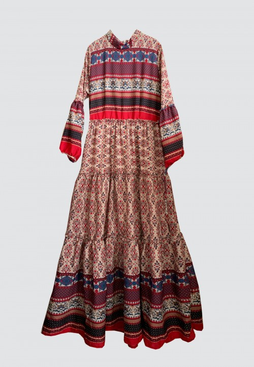 AZTEC TIERED  LONG DRESS IN RED 4