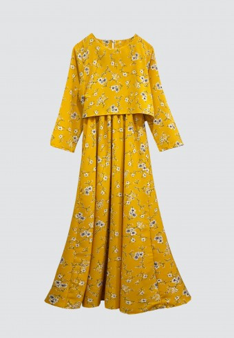 CLOVER PRINTED LONG DRESS IN YELLOW