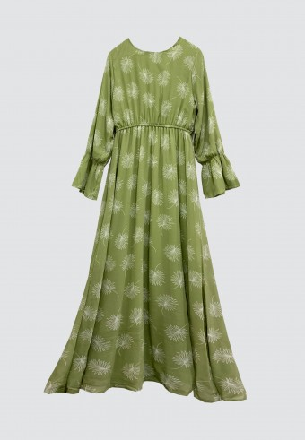 AUTUMN LONG DRESS IN DUSTY GREEN