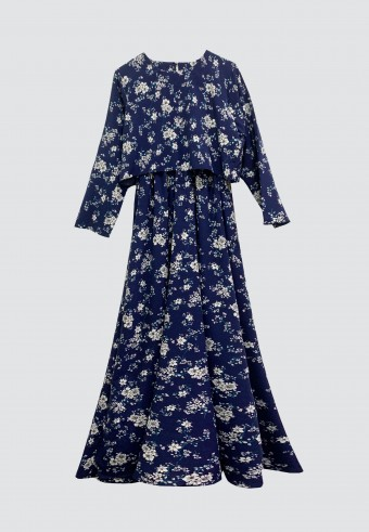 CLOVER PRINTED LONG DRESS IN NAVY BLUE