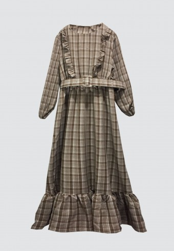 DOLL CHECKERED LONG DRESS IN BROWN