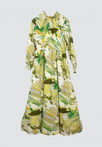 HI-NECK TROPICAL PRINTED LONG DRESS IN WHITE & YELLOW