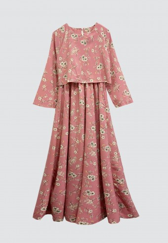 CLOVER PRINTED LONG DRESS IN PINK