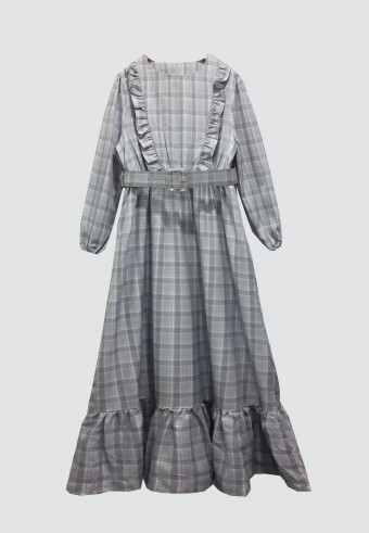 DOLL CHECKERED LONG DRESS IN GREY