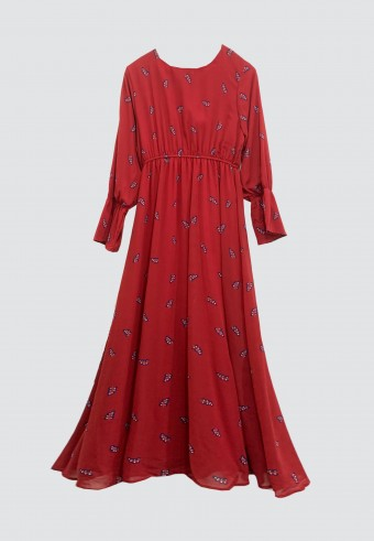 PRINTED EMBROIDERY LONG DRESS IN RED