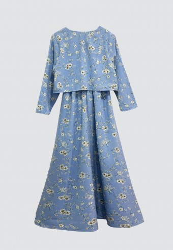 CLOVER PRINTED LONG DRESS IN BABY BLUE