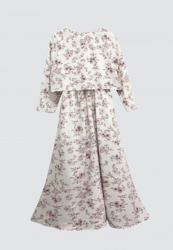 CLOVER PRINTED LONG DRESS IN WHITE