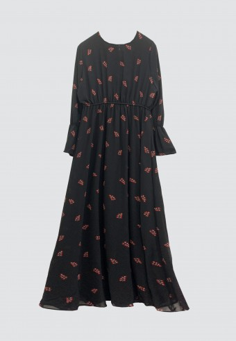 PRINTED EMBROIDERY LONG DRESS IN BLACK