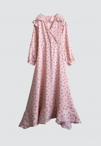 RUFFLE SHOULDER LONG DRESS IN LIGHT PINK 51