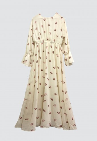 PRINTED EMBROIDERY LONG DRESS IN CREAM