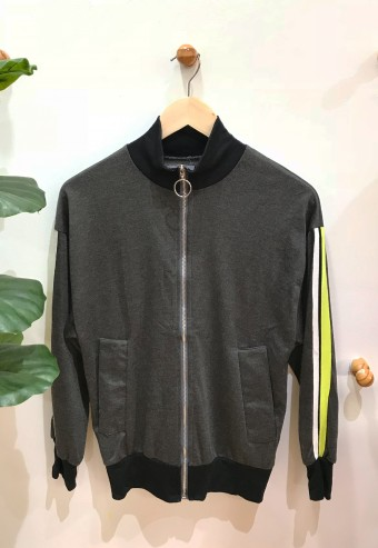 JACKET WITH STRIPED SLEEVE IN DARK GREY