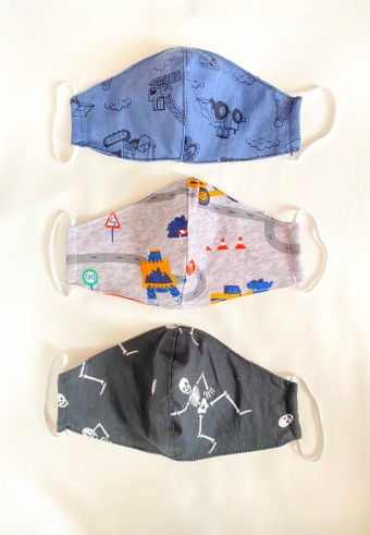 Kids Fabric Cup Mask ( Skeleton ) 3pcs