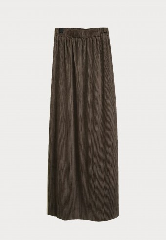 STRECHABLE PLEATED SIDE SLIT SKIRT IN BROWN 14
