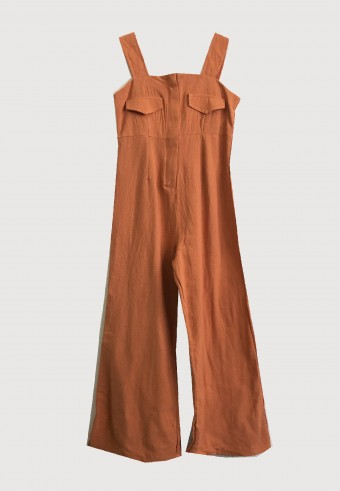 FRONT ZIPPED OVERALL IN ORANGE